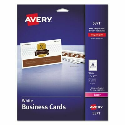 Avery / Printable Microperf Business Cards, Laser, 2 x 3 1/2, White, Uncoated, 250/Pack