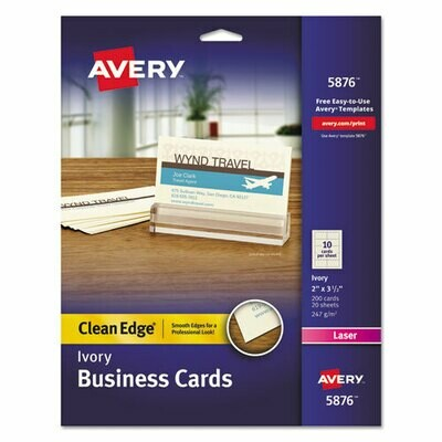 Avery / Clean Edge Business Cards, Laser, 2 x 3 1/2, Ivory, 200/Pack