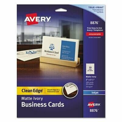 Avery / True Print Clean Edge Business Cards, Inkjet, 2 x 3 1/2, Ivory, 200/Pack