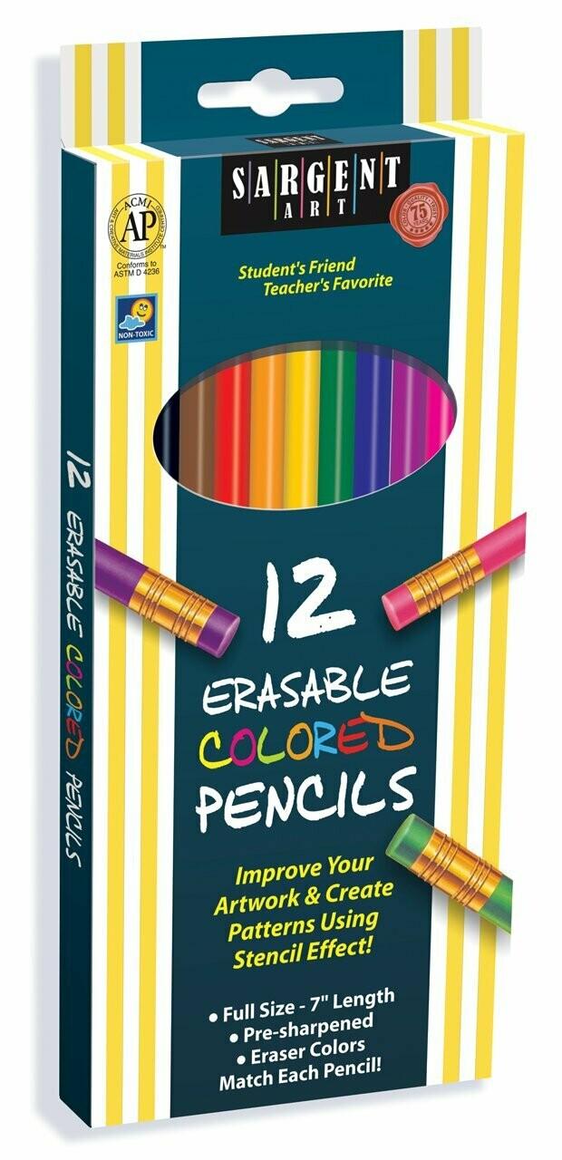 Sargent Art / Colored Pencils, Assorted, Erasable, 7.0 Inches, Pk-12
