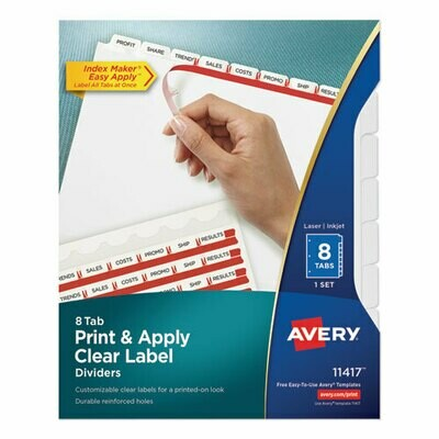 Avery / Print and Apply Index Maker Clear Label Dividers, 8 White Tabs, Letter