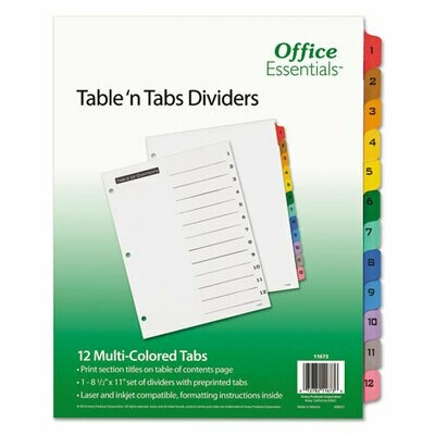 Avery / Table 'n Tabs Dividers, 12-Tab, 1 to 12, 11 x 8.5, White