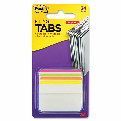 """Post It / 2"""" Angled Tabs, Lined, 1/5-Cut Tabs, Assorted Brights, 2"""" Wide, 24/Pack"""