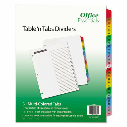 Avery / Table 'n Tabs Dividers, 31-Tab, 1 to 31, 11 x 8.5, White, 1 Set