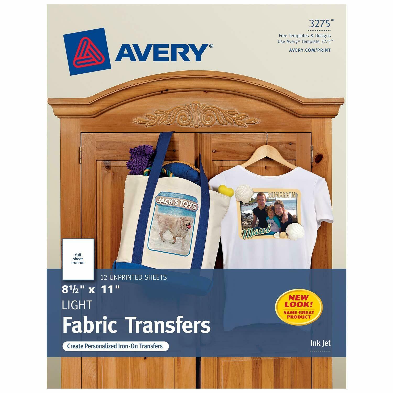 Avery / Printable T-Shirt Transfers, For Use on Light Fabrics, Inkjet Printers, 12 Paper Transfers