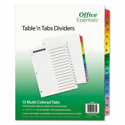 Avery / Table 'n Tabs Dividers, 15-Tab, 1 to 15, 11 x 8.5, White