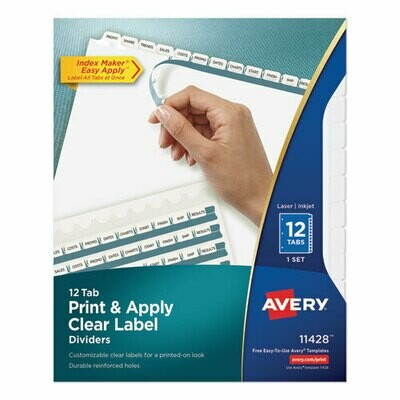 Avery / Print and Apply Index Maker Clear Label Dividers, 12 White Tabs, Letter