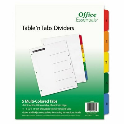 Avery / Table 'n Tabs Dividers, 5-Tab, 1 to 5, 11 x 8.5, White