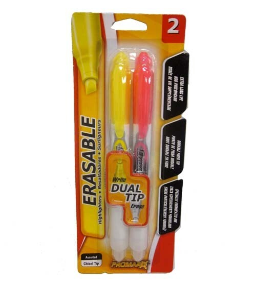 Promarx / Dual Tip Erasable Highlighters, Pink and Yellow, 2 Count