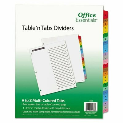 Avery / Table 'n Tabs Dividers, 26-Tab, A to Z, 11 x 8.5, White