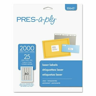 """Avery / PRES-a-ply 1/2"""" x 1 3/4"""" Matte Clear Permanent Laser Printable Label - 2000/Pack"""