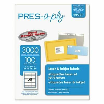 Avery / Labels, Laser Printers, 1 x 2.63, White, 30/Sheet, 100 Sheets/Box