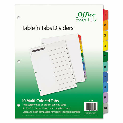 Avery / Table 'n Tabs Dividers, 10-Tab, 1 to 10, 11 x 8.5, White