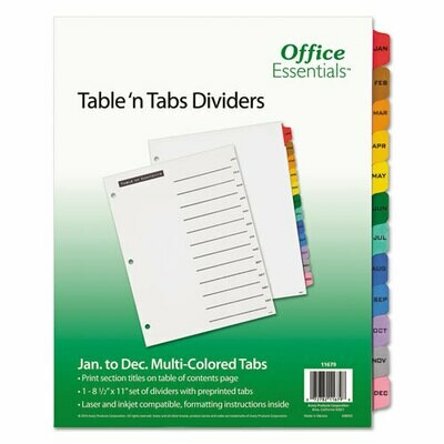 Avery / Table 'n Tabs Dividers, 12-Tab, Jan. to Dec., 11 x 8.5, White
