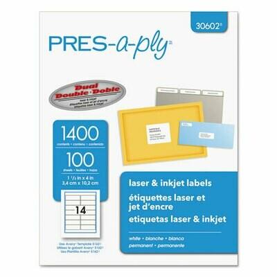 Avery / Labels, Laser Printers, 1.33 x 4, White, 14/Sheet, 100 Sheets/Box