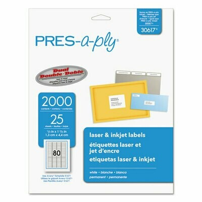 Avery / Labels, Laser Printers, 0.5 x 1.75, White, 80/Sheet, 25 Sheets/Pack