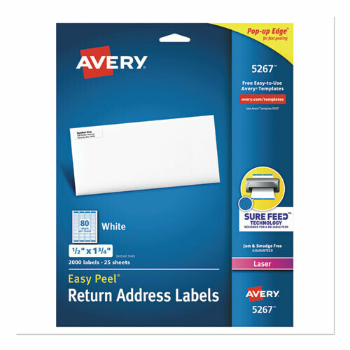 Avery / Easy Peel White Address Labels w/ Sure Feed Technology, Laser Printers, 0.5 x 1.75, White, 80/Sheet, 25 Sheets/Pack
