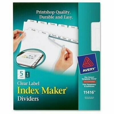 Avery /  Index Maker Clear Label Divider with Tabs - Letter - 1 / Set - White Divider