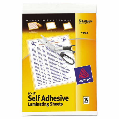"Avery / Clear Self-Adhesive Laminating Sheets, 3 mil, 9"" x 12"", Matte Clear, 10/Pack"