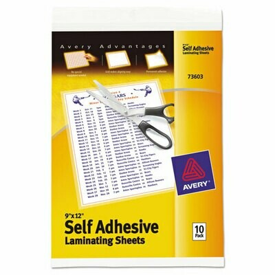 Avery / Clear Self-Adhesive Laminating Sheets, 3 mil, 9