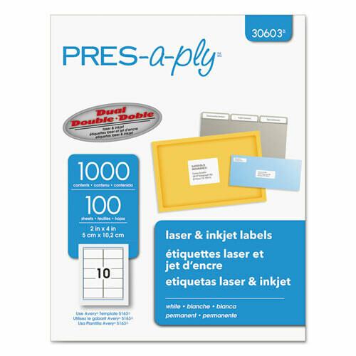 Avery / Labels, Laser Printers, 2 x 4, White, 10/Sheet, 100 Sheets/Box