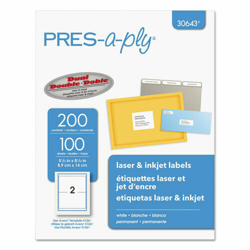 Avery / Labels, Inkjet/Laser Printers, 5.5 x 8.5, White, 2/Sheet, 100 Sheets/Pack