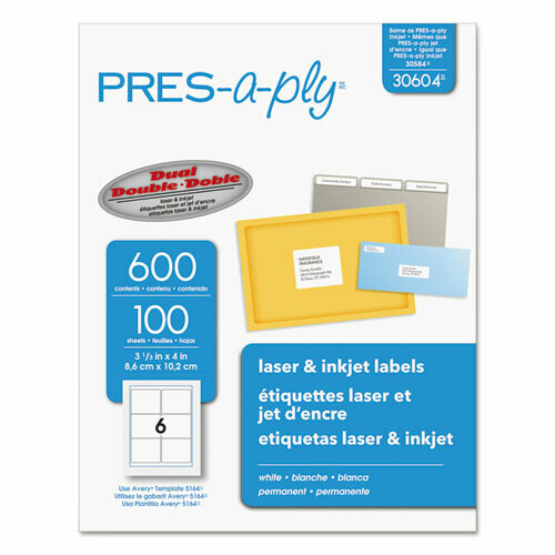 Avery / Labels, Laser Printers, 3.33 x 4, White, 6/Sheet, 100 Sheets/Box