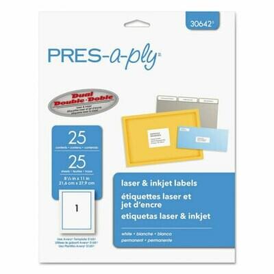 Avery / Labels, Inkjet/Laser Printers, 8.5 x 11, White, 25/Pack