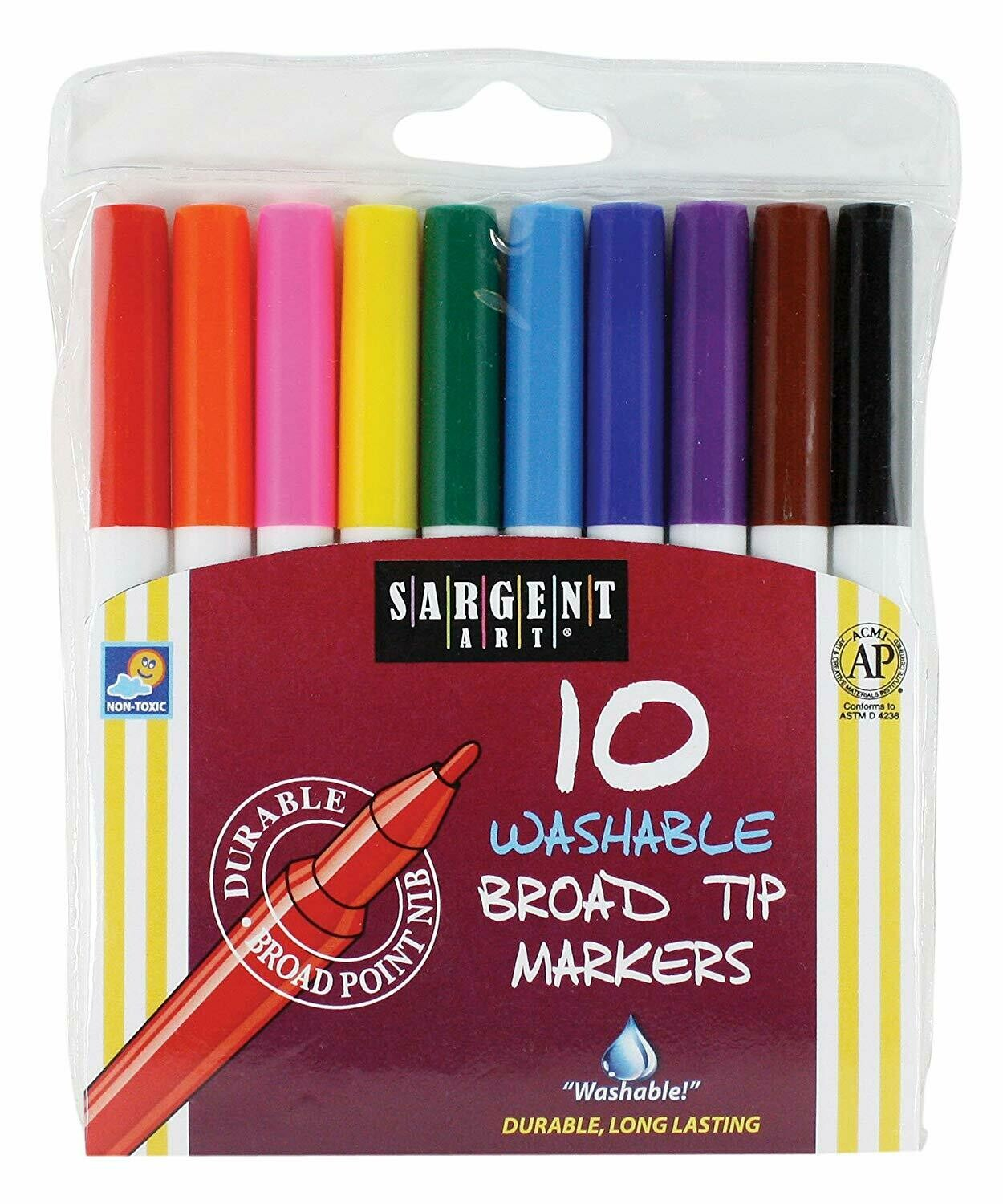 Sargent Art / 10-Count Washable Bullet Tip Broad Markers in a Pouch
