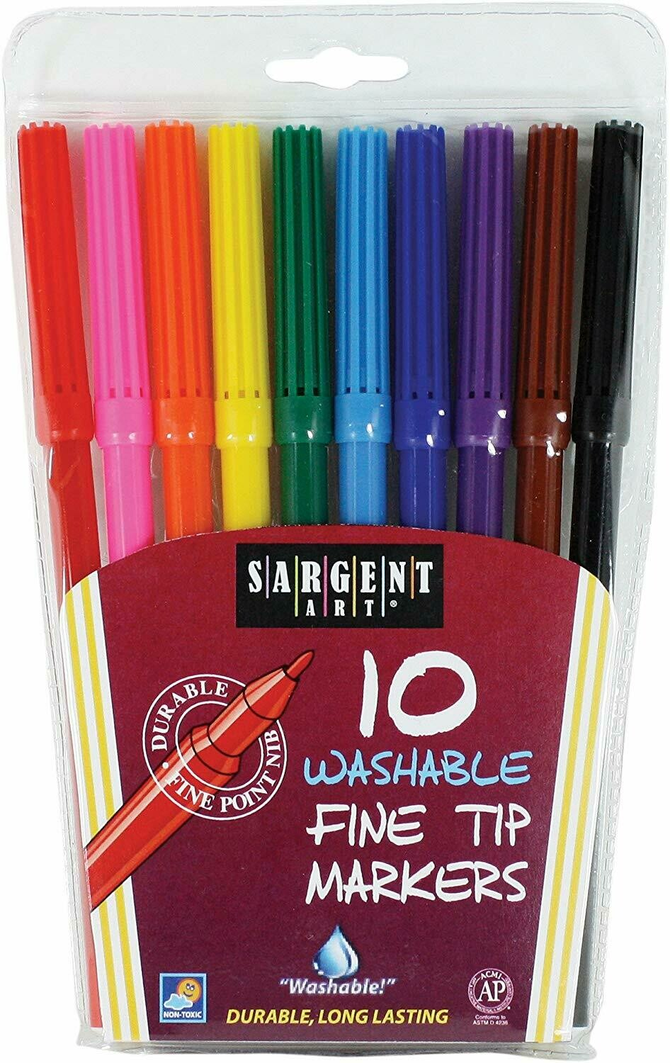 Sargent Art / 10 Count Washable Bullet Tip Fine Markers in a Pouch