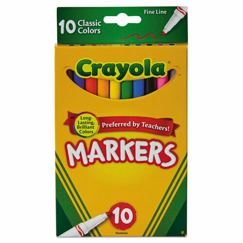 Crayola / Non-Washable Marker, Fine Bullet Tip, Assorted Colors, Pk-10