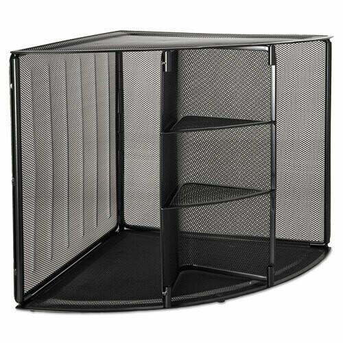 Rolodex / Mesh Corner Desktop Shelf, Five Sections, 20 x 14 x 13, Black
