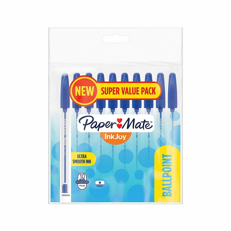 Paper Mate / InkJoy Ballpoint Pens, Medium Point Blue, Pk-10