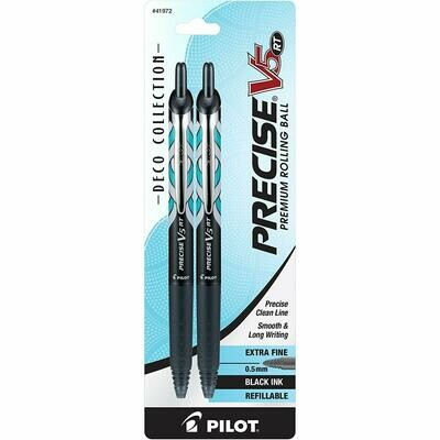 Pilot / Precise V5 RT Deco Collection Refillable & Retractable Liquid Ink Rolling Ball Pens, Extra Fine Point, Black Ink, Pk-2