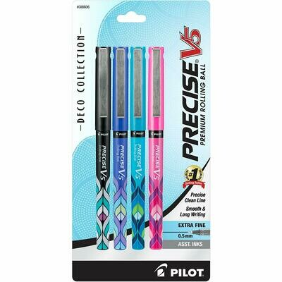 Pilot / Precise V5 Stick Deco Collection Liquid Ink Rolling Ball Stick Pens, Extra Fine Point, Black/Blue/Turquoise/Pink Inks, Pk-4