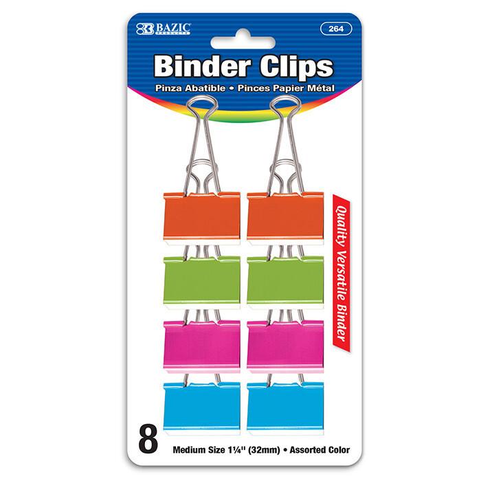 "Bazic / Binder Clips, Medium 1-1/4"" Assorted, Pk-8"