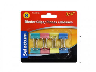 """Selectum / Binder Clips 3/4"""", Pk-8"""