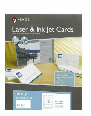 Maco / Laser/Ink Jet Ivory Business Cards, 2 x 3-1/2 Inches, 10 Per Sheet, 250 Per Box