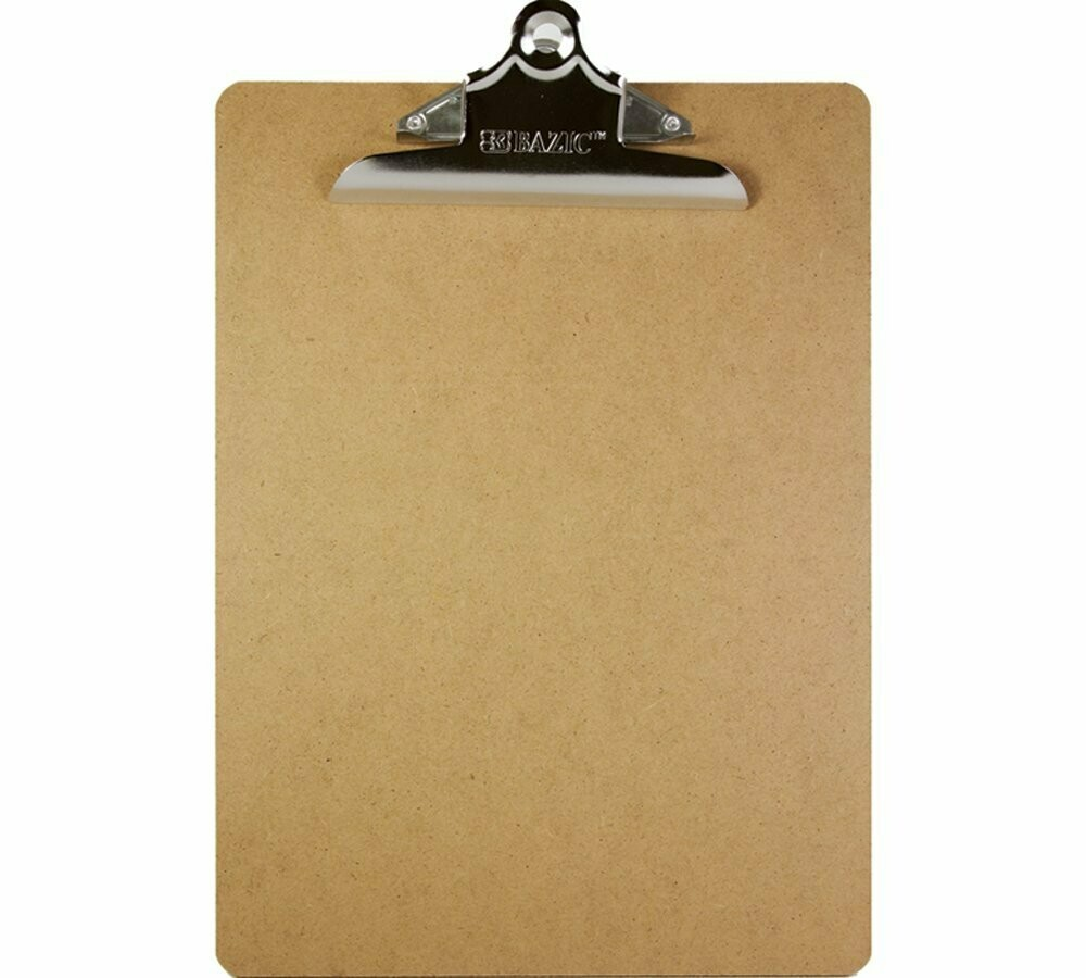Clipboard Hardboard w/Spring Clip, Letter Size / Bazic