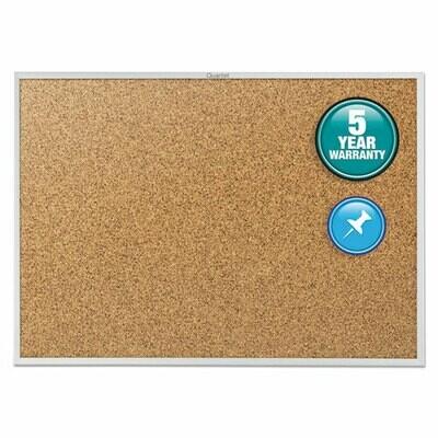 Quartet / Classic Series Cork Bulletin Board, 48 x 36, Silver Aluminum Frame