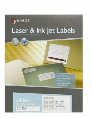 "Maco / Laser/Ink Jet White File Folder Labels, 2/3"" x 3-7/16"", 30 Per Sheet, 1500 Per Box"