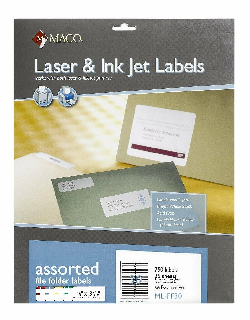 Maco / Laser/Ink Jet File Folder Labels, Assorted Colors