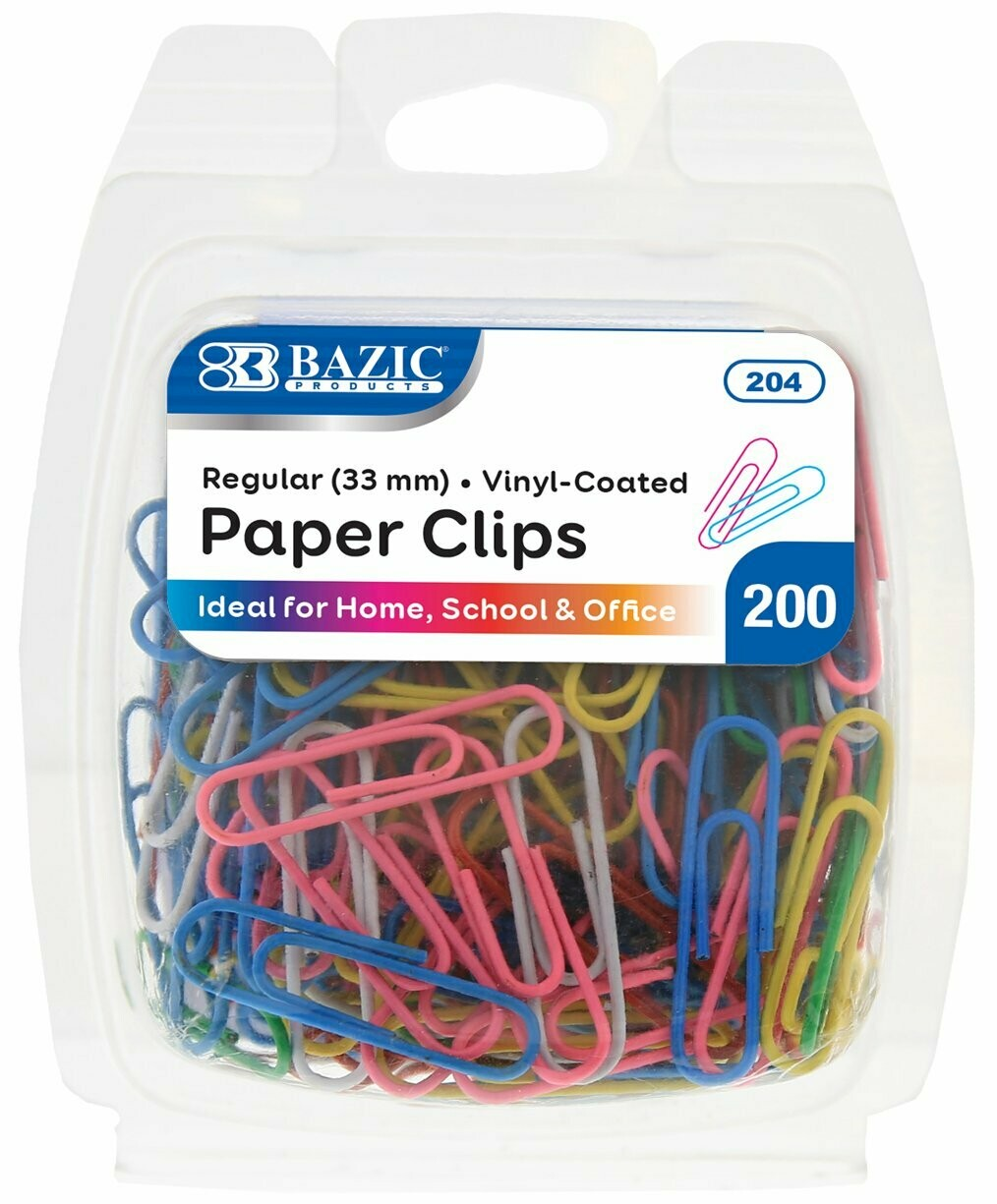 Bazic / Paper Clips #1, Assorted Colors, Pk-200