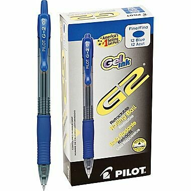 Pilot / G2 Retractable Gel Ink Rolling Ball, Fine, Blue,m