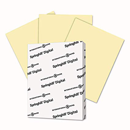 Springhill / Digital Vellum Bristol Color Cover, 67 lb, 8 1/2 x 11, Canary, 250 Sheets/Pack