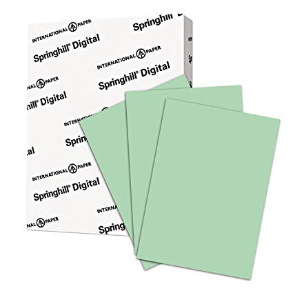 Springhill / Colored Paper, Cardstock Paper, Green Paper, 67lb, 147gsm, 8.5 x 11, 1 Ream / 250 Sheets - Vellum Card Stock, Thick Paper