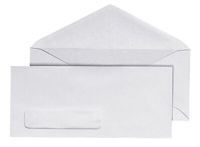 Business Envelope, #10, with Window, 4 1/8 x 9 1/2, White, 500/Box