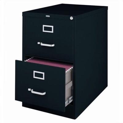 Vertical File Cabinet, 2-Drawer, LEGAL, Black