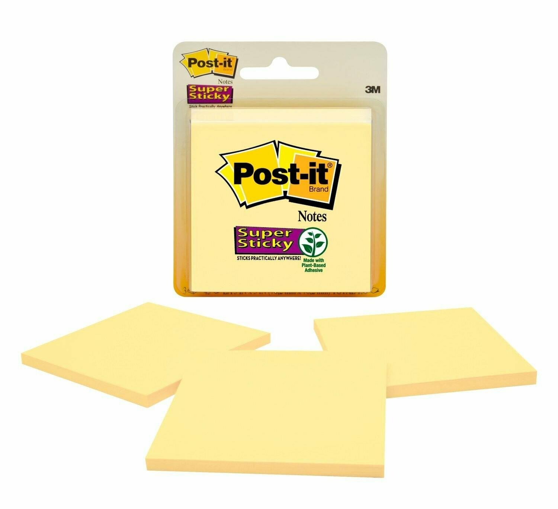 "Post-it / Super Sticky Note 3""x 3"" Yellow, Pk-3"