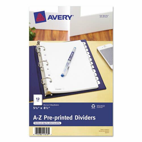 Avery / Preprinted Tab Dividers, 12-Tab, 8 1/2 x 5 1/2
